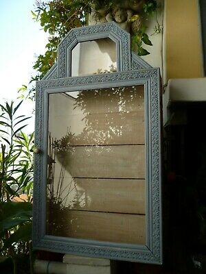 vintage,French display cabinet,reliquary,wooden shrine,vitrine,religious,blue