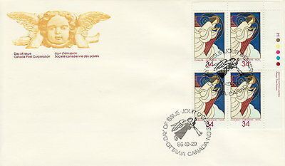 Canada #1113 34¢ Christmas Angels Ur Plate Block First Day Cover