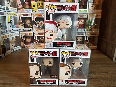 Funko PoP! Die Hard LOT of 3 HANS GRUBER Gamestop Excl +Tony +John & Protectors!