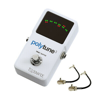 TC Electronic Polytune 3 Polyphonic Guitar Tuner Pedal w/2 Patch Cables