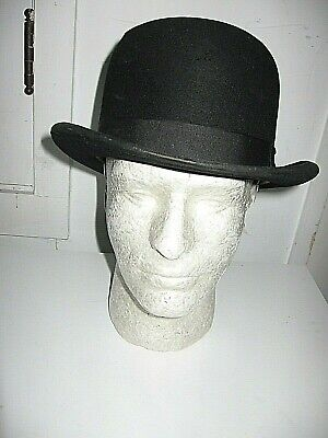 "Antique 1900 John Stetson,pa. Flex. Conforming Bowler/derby,vented-""cross/holes"""