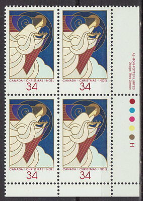 CANADA #1113 34¢ Christmas Angels LR Plate Block MNH