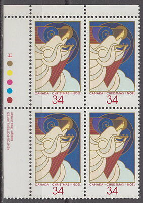 CANADA #1113 34¢ Christmas Angels UL Plate Block MNH