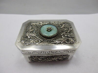 antique chinese export silver box with dragon & jade
