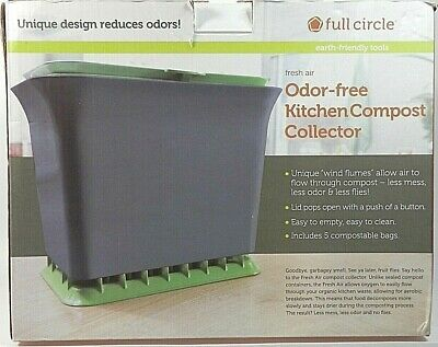 Full Circle - Fresh Air Odor-Free Kitchen Compost Collector 1.5 Gallon Green