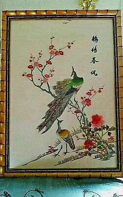 """Antique Chinese Embroidery silk """"Forbidden Stitches,""""Peacocks on a Tree"""",sig18.5"""