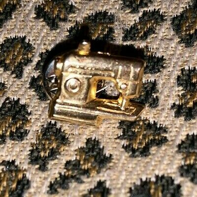 Sewing Machine Brooch Pin Gold Tone