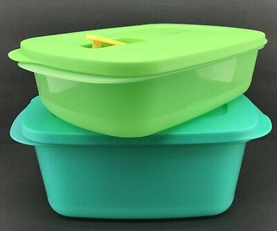 Tupperware CrystalWave Microwave Set of 2 Rectangle 4 Cup + 7 Cup Green Blue New