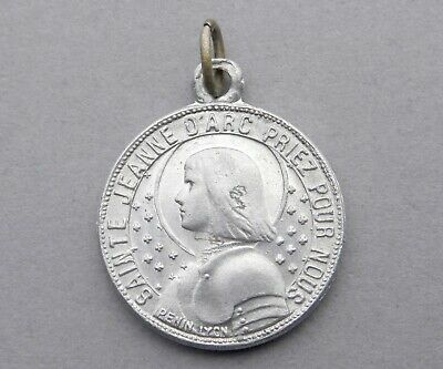 Saint Joan of Arc, Michael Archange. Antique Religious Pendant. French Medal.