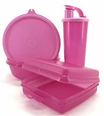 Tupperware Lunch Set 3 Piece Tumbler + Bowl + Sandwich Keeper Pink New
