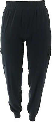AnyBody Loungewear Tall Cozy Knit Cargo Jogger Pants Black M NEW A310169
