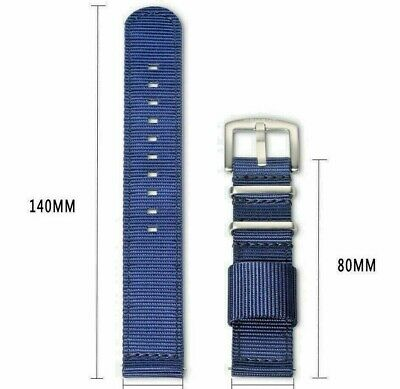 Quality HEMSUT Blue 18mm 2 Piece Long Military Watch Band W/ Easy On Quick Pins
