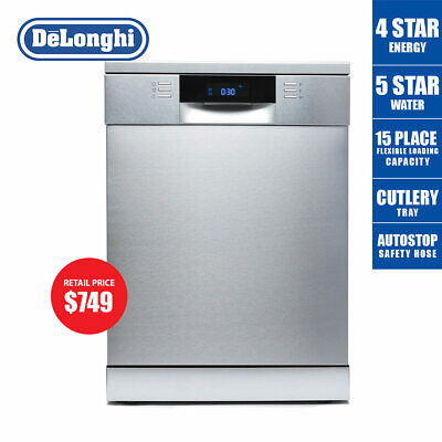 Delonghi Freestanding Dishwasher 60cm Stainless Steel DEDW6015S 4 Energy 5 Water