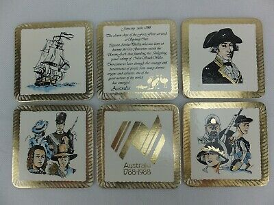 Set of 6 x Drinks Coasters - Australia 1788 to 1988 Bicentenary, First Fleet