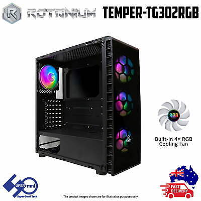 PC Case ATX Tower Tempered glass side panel with 4x ARGB Fan and Controller