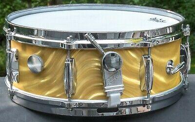 "Vintage Gretsch 4157 Name Band Snare Drum 5-1/2"" x 14"" Gold Satin Flame"