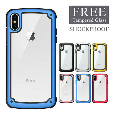 For iPhone XR X XS Max 6 7 8 Plus Shockproof PC Bumper Protective Case + Glass