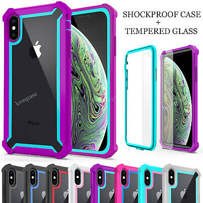 For iPhone XR XS Max X 6 7 8 Plus 360 Shockproof Case Cover + Tempered Glass