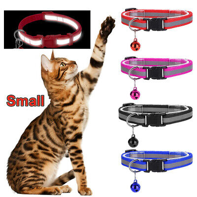Small Pet Cat Dog Reflective Collar Cute Bell Buckle Light Up Nylon Night Safety