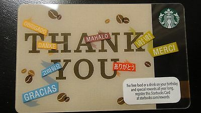 """Starbucks """"thank you"""" COLLECTIBLE GIFT CARD New Never Swiped"""