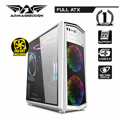 PC Case Gaming Tower Armaggeddon T5X Pro II Computer Gaming Case Full ATX White