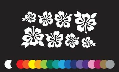 8 Hibiscus Flowers Lei Window Sticker Vinyl Decal Hawaii Aloha Make your own