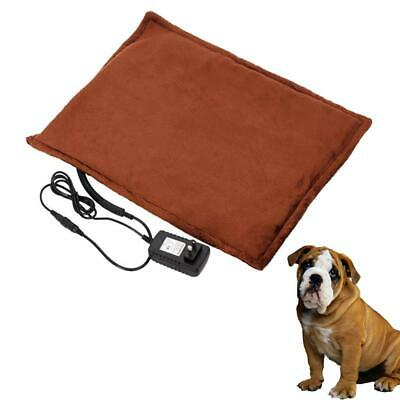 """New 2019 Warmer Safe Dog Cat Reptile Heated Bed Pad 110V~240V Brown 11""""x15"""""""