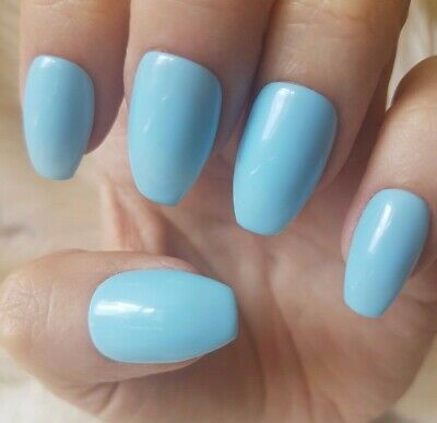 Hand Painted Light Blue False Nails. 20 Short Coffin Press-on Nails. Glossy.