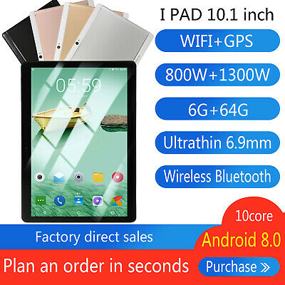 10.1 Inch 6GB+64GB HD WiFi Tablet PC Android 8.0 Ten Core Bluetooth Game Tablet