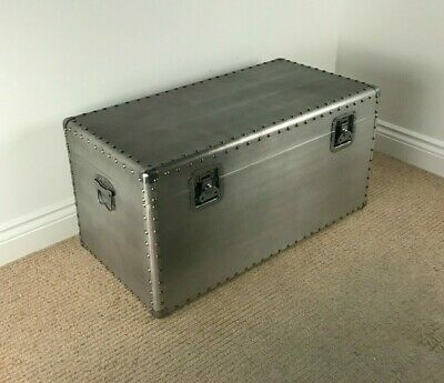 *SECOND* Large Urban Style Storage Chest INDUSTRIAL TRUNK / BOX Aluminium Finish