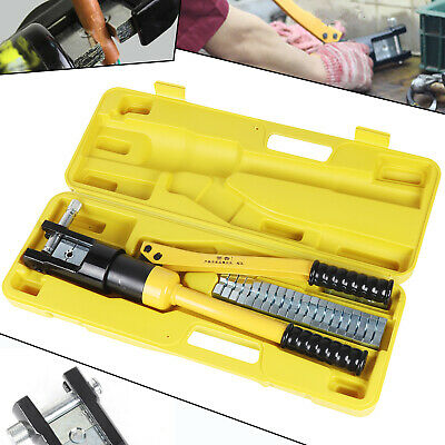 16 Ton Hydraulic Crimper Crimping Tool Wire Battery Cable Lug Terminal Set