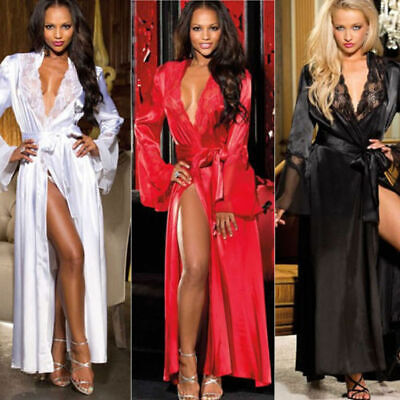 Sexy Women's Lingerie Sleepwear Lace Dress Lady Long Bathrobe Night Gown Robe CA