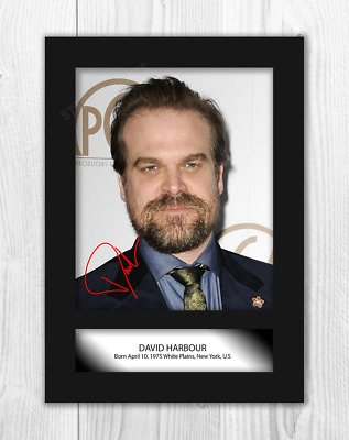 David Harbour (1) Stranger Things A4 reproduction signed poster. Choice of frame
