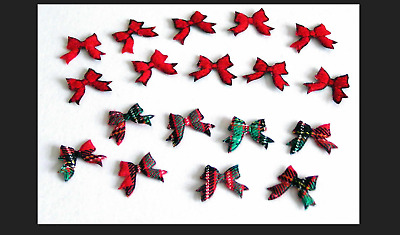1 NEW PACK 20 FABRIC TARTAN BOWS RED GREEN CHECK 18mm x 14mm CARDS CRAFTS SEWING