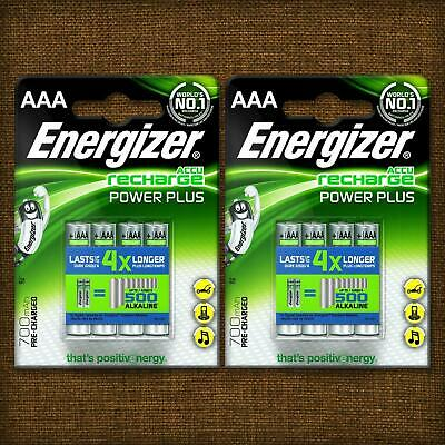 NEW Energizer AAA 700mAh Rechargeable Batteries Power Plus PreCharged NiMH HR03