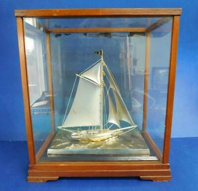 Quality Hong Kong Chinese Sterling Silver Sailing Boat in Glass Cabinet 1950s