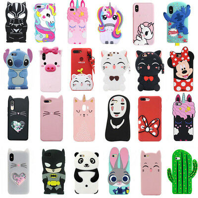 Cute Kids 3D Cartoon Soft Silicone Cover Case For iPhone SE 5S 6 7 8 Plus XS MAX