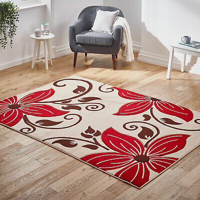 Modern Beige Red Floral Rug New Carved Flower Thick Pile Rugs at Low Cost