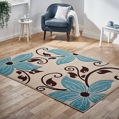Modern Flower Thick Pile Rugs Beige Blue Floral Rug New Carved Rugs at Low Cost