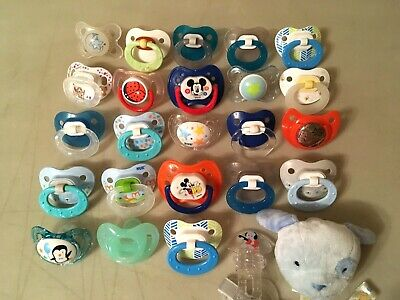 Lot of 25 Baby Pacifiers NUK, MAM, and More BOYS Pacifiers Make For Reborn Dolls