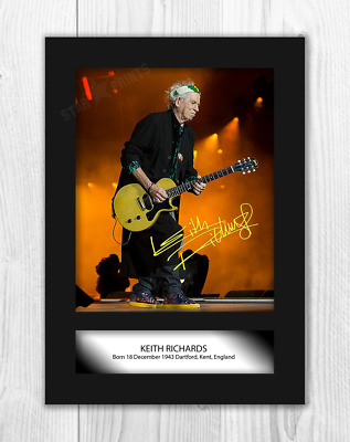 Keith Richards Rolling Stones Signed Autographed A4 Photo Poster Memorabilia cd
