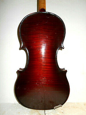 Vintage Antique Old German 2 Pc. Curly Maple Back Full Size Violin