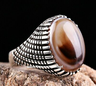 Natural Agate Aqeeq Turkish Jewelry 925 Sterling Silver Mens Man Ring ALL SİZE 2