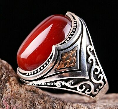 Turkish Jewelry Natural Red Agate Aqeeq Stone 925 Sterling Silver Mens Ring Usa