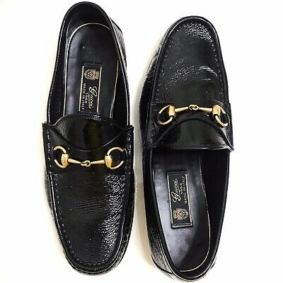 a699e58c2 Gucci Classic Jordaan Quentin Black Patent Leather Gold Horsebit Loafer 10G  11