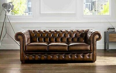 Chesterfield Real Leather Antique Tan Tufted Buttoned Sofa Settee