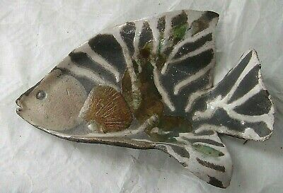 Ceramics By Maggie White Decorative  Angel Fish Wall Plaque