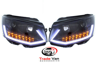 Vw T6 Transporter 2015-19 Black Smoked Inner Led Drl Headlight Replacement Units
