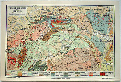 Sudeten Region - Original 1909 Geological Map by Meyers. Czech. Sudtenland