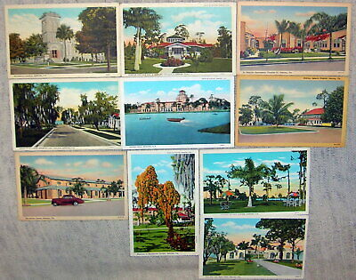 Lot of 10 Vintage Sebring, Florida White Border Linen Postcards